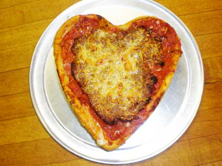Yeah - this one has sausage on it but the heart shape is for all our Vegan fans!